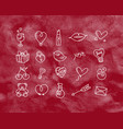 valentine flat icons red vector image
