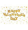 valentines day golden balloon banner with gold vector image