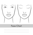 woman face chart portrait Female face with open vector image vector image