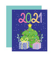 2021 happy new year color numbers with tree vector image vector image