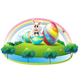 A bunny inside the easter egg vector image vector image