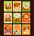autumn leaf and fall harvest retro poster set vector image vector image