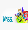 back to school template with funny cartoon vector image