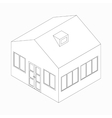 Big detached house icon isometric 3d style vector image vector image
