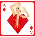 blonde woman representing ace of diamonds card vector image