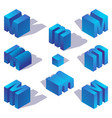 blue gradient english isometric letter m vector image