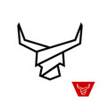 bull head with long horns logo stripe lines style vector image