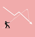 businessman pulling a falling arrow graph chart