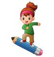 cartoon girl standing on pencil vector image