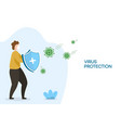 coronavirus protection male with security shield vector image vector image
