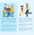 family loves to learn and sport colorful cards vector image vector image
