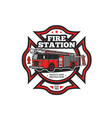 firefighting symbol with fire truck icon vector image vector image