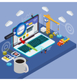 Flat 3d laptop and smart watches vector image vector image