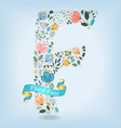 floral letter f with blue ribbon vector image vector image