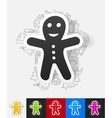 gingerbread man paper sticker with hand drawn vector image vector image