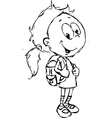 girl with school bag - vector image