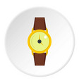 gold wristwatch icon circle vector image vector image