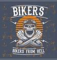 grunge style skull bikers wearing retro helmet vector image vector image