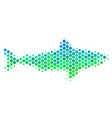 halftone blue-green shark icon vector image