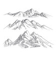 hand drawing mountain ranges in engraving style vector image