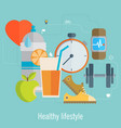 healthy lifestyle flat food water and sport vector image vector image