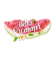 Hello summer lettering typography with watercolor vector image