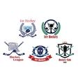 Ice hockey emblem symbol set vector image vector image