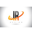 ir i r letter logo with fire flames design and vector image vector image