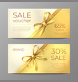 luxury voucher card golden ribbon certificate vector image vector image
