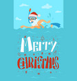 merry christmas santa claus swimming diving mask vector image vector image