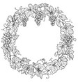 monochrome grape branches round frame vector image