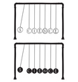 Newtons cradle with letters on balls vector image vector image