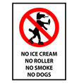 no ice cream no smoke no roller no dogs allowed vector image