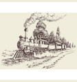old steam train on railways landscape hand drawing vector image