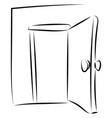 open door drawing on white background vector image