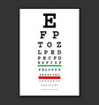 optical vision test chart vector image vector image
