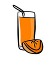 orange juice sketch hand drawn vector image
