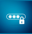 password protection icon on blue background vector image vector image