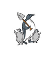 Penguin Holding Shovel With Chicks Drawing vector image vector image