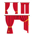 red drapes with gold tieback and lambrequin vector image vector image
