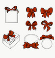 red ribbon set bow for decorating various item vector image