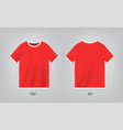 red t-shirt template with short sleeve shirt mock vector image