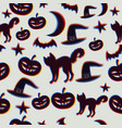 seamless pattern with halloween silhouettes vector image