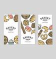 set 3 bakery flyers or brochure typography vector image vector image