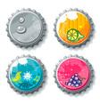 set grunge metallic bottle caps vector image