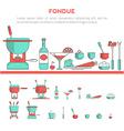 set of fondue vector image vector image