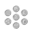 set of realistic silver coins flat style isolated vector image vector image