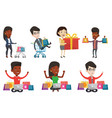 set of shopping people characters vector image vector image