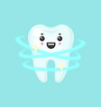 shiny clean tooth with emotional face cute vector image vector image