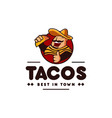 sombrero hat mexican holding tacos mexican vector image vector image